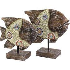 2 Piece Kawela Mosaic Glass Fish Figurine