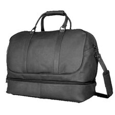 "20"" Leather Bottom Compartment Travel Duffel"
