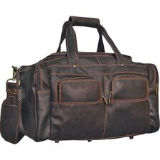 "Distressed 19"" Leather Multi-Pocket Duffel"