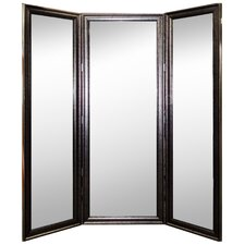 Distress Silver Black Trim 3 Paneled Mirror