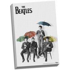 The Beatles 'Black and White with Color Umbrellas' Graphic Art on Canvas