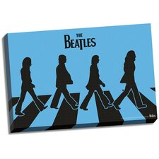 The Beatles 'Blue Silhouette Abbey Road' Graphic Art on Wrapped Canvas