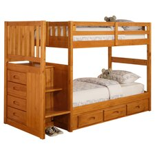 Weston Twin over Twin Bunk Bed with Stairs and Storage