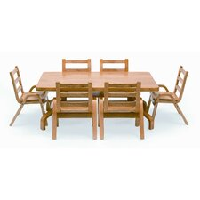 "NaturalWood 20"" Rectangle Preschool Table And Chair Set"