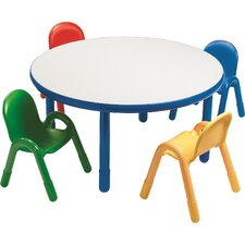 Round Baseline Preschool Table and Chair Set in Royal Blue