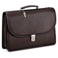 Platinum Double Gusset Leather Briefcase