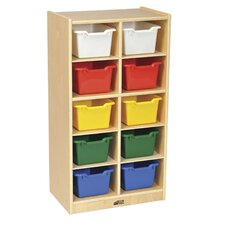Birch 10 Cubby Tray Cabinet with Scoop Front Bins