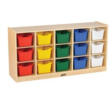 Birch 15 Cubby Tray Cabinet with Scoop Front Bins