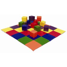 Patchwork Mat & Toddler Blocks Set in Primary Colors