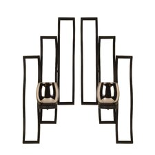 Metal and Glass Sconces (Set of 2)