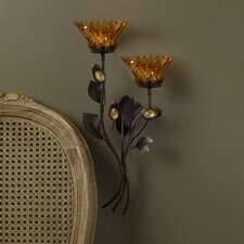 Amber Flower 2 Tealight Wall Sconce