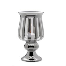 16 inch Silver Stripe Glass Hurricane