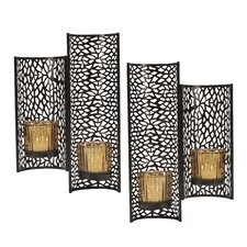 4 Piece Metal/Glass Sconce Set