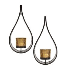 2 Piece Metal/Glass Sconce Set (Set of 2)