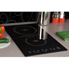 "11.38"" Electric Induction Cooktop with 2 Burners including 7 Piece Complimentary Cookware Set"