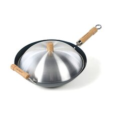 "7 Piece 14"" Preseasoned Flat Bottom Wok Set"