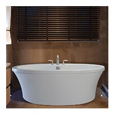 "Center Drain Freestanding 66"" x 36.75"" Soaking Tub with Deck for Faucet"