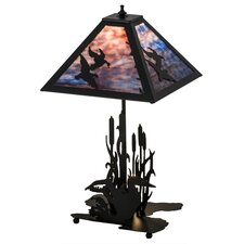 "Greenbriar Oak Ducks in Flight Lighted Base 21"" Table Lamp"