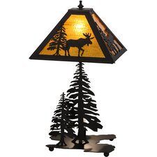 "Greenbriar Oak Lone Moose Lighted Base 21"" Table Lamp"