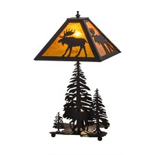 """Greenbriar Oak Moose Through the Trees Lighted Base 21"""" Table Lamp"""