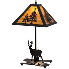 "Greenbriar Oak Lone Deer Lighted Base 21"" Table Lamp"