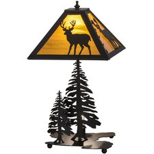 """Greenbriar Oak Placid Deer Lighted Base 21"""" Table Lamp"""