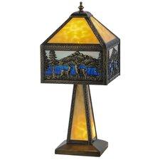 "Greenbriar Oak Deer Lodge Lighted Base 21"" Table Lamp"