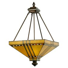 Mission Stickley Prairie Corn 3 Light Inverted Pendant