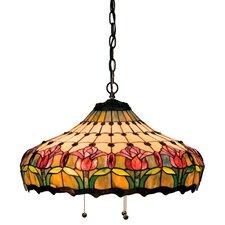 Victorian Tiffany Nouveau Colonial 3 Light Bowl Pendant