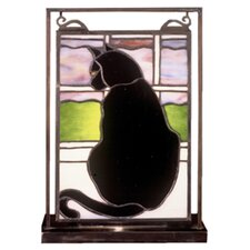 """Cat in Window Lighted Mini Tabletop Window 10.5"""" H Table Lamp with Rectangular Shade"""