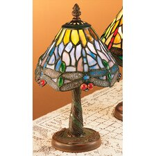 "Dusky Tiffany Hanging Head Dragonfly 12"" H Table Lamp with Empire Shade"