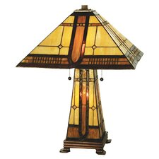 """Sierra Prairie Mission Lighted Base 25"""" H Table Lamp with Cone Shade"""