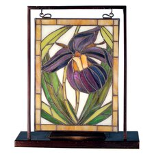"""Floral Lady Slippers Lighted Mini 10.5"""" H Table Lamp with Rectangular Shade"""