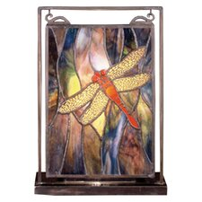 """Floral Insects Tiffany Dragonfly Lighted Mini 10.5"""" H Table Lamp with Rectangular Shade"""