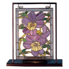 """Floral Pansies Lighted Mini 10.5"""" H Table Lamp with Rectangular Shade"""