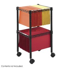 Wire 2 Tier Mobile Filing Cart with Shelves