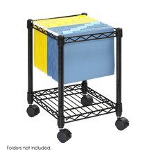 Mobile Wire Compact File Cart with Shelf