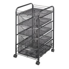 Onyx Mesh Utility Cart with Drawers