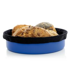 Bread Basket with Black Bread Bag in Blue
