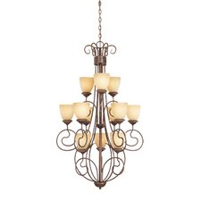 Belaire Twelve Light Chandelier in Aged Umber Bronze