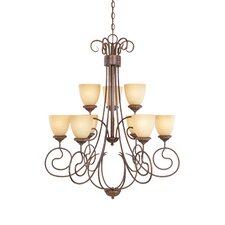 Belaire Nine Light Chandelier in Aged Umber Bronze