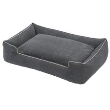Tweed Printed Microfiber Lounge Bolster Dog Bed