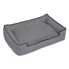 Houndstooth Everyday Cotton Lounge Bolster Dog Bed
