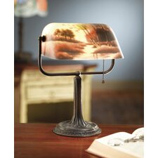 """Reverse Painted River Scene 13"""" Table Lamp"""