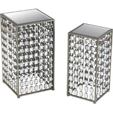 2 Piece Mirrored End Table Set