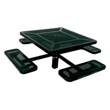 Single Pedestal Inground Square Picnic Table with Perforated Pattern