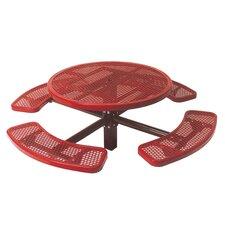 Single Pedestal Inground Round Picnic Table with Diamond Pattern