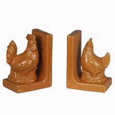 Ceramic Chicken Book End (Set of 2)