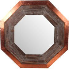 Wood & Copper Hexagon Wall Mirror