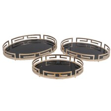 3 Piece Oval Iron Tray Set